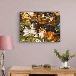 귀여운 고양이 네마리 DIY명화그리기 유화그리기세트