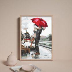 비오는날 우산속 커플 DIY명화그리기 유화그리기세트