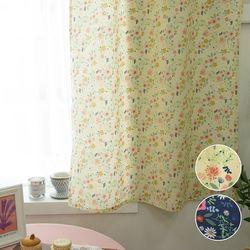 작은창 커튼- 귀여운 플라워 2color (가로130cm x 세로180cm)
