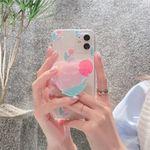 핑크튤립 하트 스마트톡 아이폰 카메라보호 투명케이스