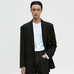 NOTCHED OVERSIZE BLAZER [BLACK]