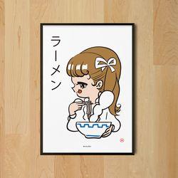 라멘소녀 M 유니크 디자인 인테리어 포스터 일식당 A3(중형)