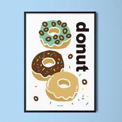도넛 M 유니크 디자인 인테리어 포스터 디저트 A3(중형)