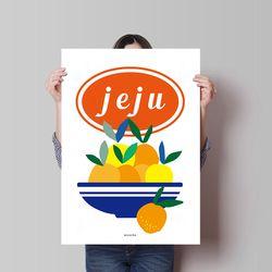 제주 감귤2 M 유니크 디자인 인테리어 포스터 과일 A3(중형)