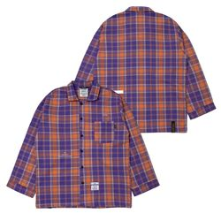 CHECK PAJAMA OVERSIZED SHIRTS PURPLE