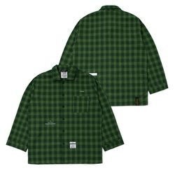 CHECK PAJAMA OVERSIZED SHIRTS GREEN
