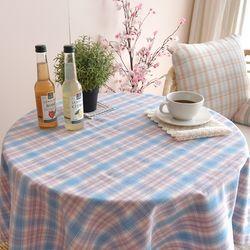 블루소다 체크 식탁보 테이블보(2인)(110x110cm)