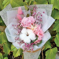 로랑 드라이플라워 꽃다발(카네이션 목화)