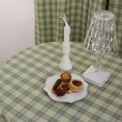 크림버터 체크 테이블보 식탁보 130x180