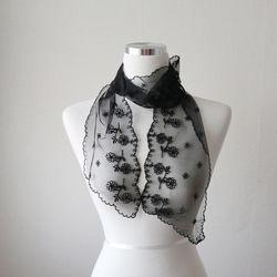 들꽃 자수 시스루 레이스 얇은 봄 여름 여성 스카프 (2color)