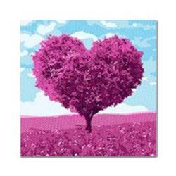 DIY 보석십자수 - 핑크하트나무 BE20 (25x25)