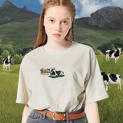 COW NEEDLES T-SHIRT OATMEAL