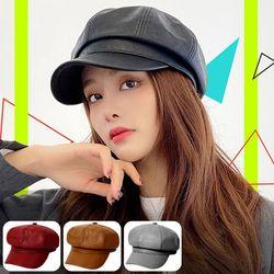 뉴스보이캡 헌팅캡 여성모자 팔각모 빵모자 가죽 패션