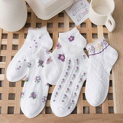 데일리 슬립온 발목 양말 꽃무늬 포인트양말 5켤레