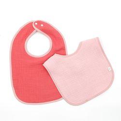 이중양면거즈 턱받이 핑크핫핑크 2개세트 이유식 침받이
