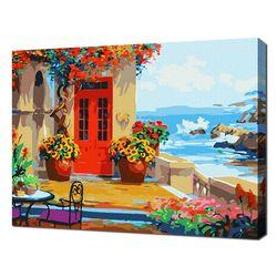 [명화그리기]4050 빨간 문이 있는 바닷가의 집 25색 풍경화