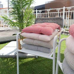 깅엄 잔체크 빵빵이 의자 끈방석(솜일체형)