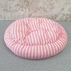 ABM 핑크 줄무늬 원형 애견방석 L
