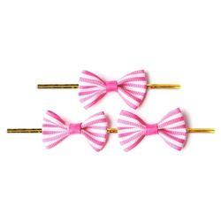 (인디고샵)빵끈 달린 핑크 가로줄 완성리본 미니 (15개)
