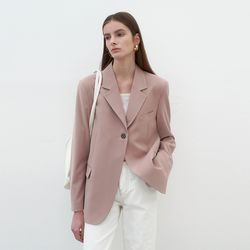 THICK ONE BUTTON JACKET BEIGE PINK