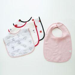 유아 턱받이 패턴거즈 핑크4종 세트 초기이유식 침받이