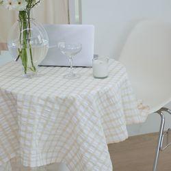온더브리즈아이보리 식탁보 테이블보 135x135cm