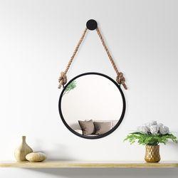 빈티지 스트랩 벽거울(30cm) (블랙)