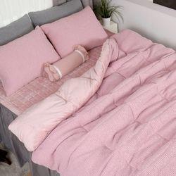 극세사차렵 면와플 따뜻한 겨울이불패드세트Q 핑크