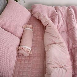 극세사차렵 면와플 따뜻한 겨울이불패드세트SS 핑크