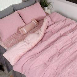 극세사차렵 면와플 따뜻한 겨울이불베개세트Q 핑크