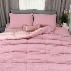 극세사차렵 면와플 따뜻한 겨울이불베개세트SS 핑크