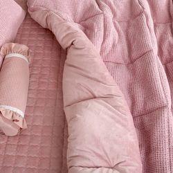 극세사차렵 면와플 따뜻한 부드러운 겨울이불Q 핑크