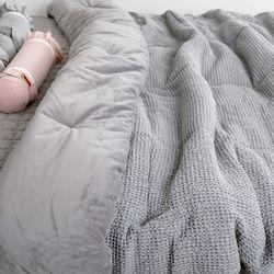 극세사차렵 면와플 따뜻한 부드러운 겨울이불Q 그레이