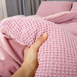 극세사차렵 면와플 따뜻한 부드러운 겨울이불SS 핑크