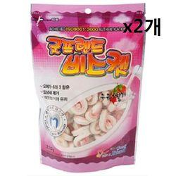 강아지 비스켓 우유+딸기 220gx2개 스낵 과자류