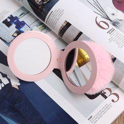 손거울 폼폼이키링(핑크)