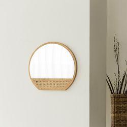 메이 라탄 벽걸이 거울
