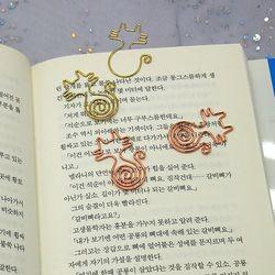 금속 고양이 페이퍼 클립 북마크 북클립 2개1세트
