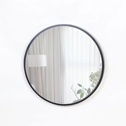 우드 카운티 원형 모던 벽거울 420-블랙프레임