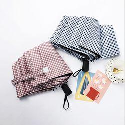 고급 체크무늬 접이식 3단 암막양산 우산