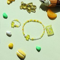 곰돌이 젤리 비즈 반지+팔찌 세트 옐로우 AGBP21401MWY