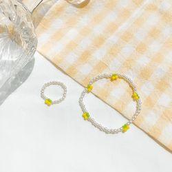 스위트 체리 비즈 반지+팔찌 세트 레몬 AGBP21403MIY