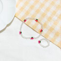 스위트 체리 비즈 반지+팔찌 세트 핑크 AGBP21403MWP