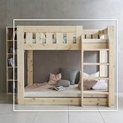 클라우 원목 계단형 이층 침대 Q