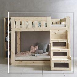 클라우 원목 수납계단형 이층 침대 Q