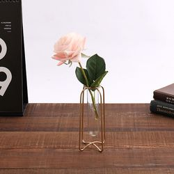 오브제 시험관 꽃병 장미 조화세트 (5x7.5x14.5cm)