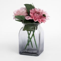 컬러 그라데이션 꽃병 (9.5x9.5x14.5cm) (블랙)