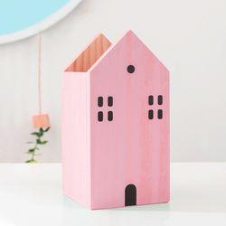 리틀하우스 우드 펜꽂이 (핑크)
