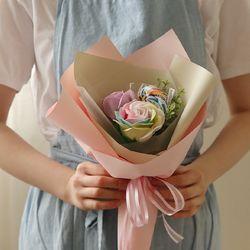 레인보우빅로즈 사탕꽃다발 (메세지선택)