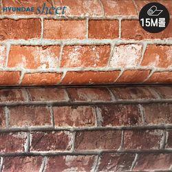 [15M] 붉은벽돌 데코시트지 파벽돌 클래식 빨간벽돌